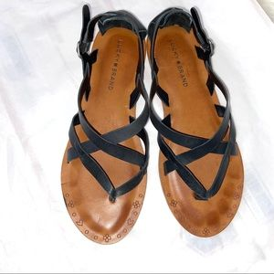 Lucky Brand Black Leather Strappy Sandals Size 7.5